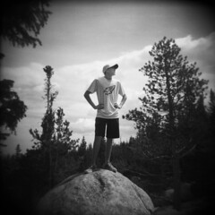 falcon on a rock (That was my foot.) Tags: falcon alternatingweekends rmnp rocky mountain national park holga toycamera