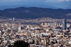 Barcelona from Montjuic (Yuri Rapoport) Tags: torreagbar barcelonacathedral church 2013 barcelona catalonia spain