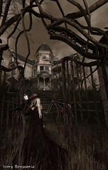 Foreboding Of Evil - 11/2016 (IvoryBouscario) Tags: secondlife witch evil dark foreboding house haunted gate woman female scary creepy dread fear dire frightful frightening