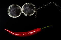 Girl with lipstick and glasses (PaulHoo) Tags: still life detail macro nikon d700 closeup fun humor red pepper face girl abstract smile smiling teabag glasses 2016