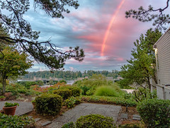 Some wishes come true (rowjimmy76) Tags: rain rainbow sky cloud weather pacificnorthwest pnw home porch patio trees vegetation willamettteriver rossisland portland pdx oregon landscape canon