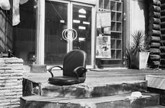 The Chair (35mm) (jcbkk1956) Tags: chair seat thonglo bangkok thailand mono blackwhite yashica yashinon ministerd rangefinder 35mm analog film street abandoned broken entrance steps doors worldtrekker texture