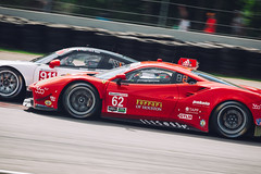 Ferrari vs Porsche (Garret Voight) Tags: 2016 ferrari 488 gt3 porsche 911 rsr porschenorthamerica risicompetizione racing motorsports autoracing car racecar sports weathertechsportscarchampionship uscc imsa automobile motorracing automotive roadamerica elkhartlake wisconsin vehicle track circuit corner speed motion blur panning
