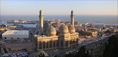 The mosque  Bibi-Heybat at sunset (ArtDen82) Tags: azerbaijan baku mosque architecture islam caspian sea cargo port sunset caucasus winter