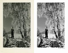 OcsiTeliKirandulas_RBJv1_BA_Web (Photo Restoration & Retouch by RBJ) Tags: photoretouchingandrestorationbyrekabodnarjones winter boy sled beforeafter blackwhite