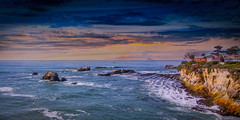 Coastal Romance (Calpastor) Tags: seascape landscape travel california pismo ocean sea waves surf water clouds sunset rocks blue orange cliffs romance skyline shore seaside rock outdoor