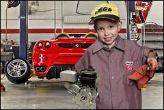 Easton Automotive Mechanic (Mark Birkle) Tags: mechanic young composite phillips 66 shirt lawn mower engine service smile photoshop image photo picture portrait lawnmower