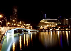 Theatres on the Bay (Sarah Marston) Tags: singapore jubileebridge theatresonthebay esplanade lights reflections sony alpha a65 november 2016