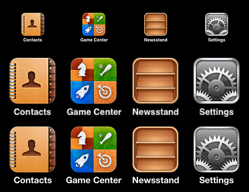 iPhone icons in regular and Retina Display sizes