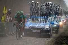 Two Europcar riders - Paris - Roubaix 2012 (ProPress.ch - Luca Pedroni) Tags: paris cycling team bank cobbles 2012 riders arenberg parigi saxo foresta roubaix pav parisroubaix europcar
