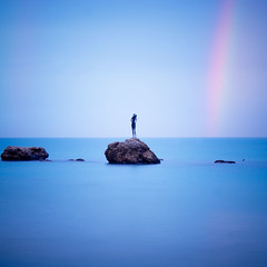 Waiting for my ray of sunshine (Arianna_M(BUSY)) Tags: longexposure rainbow mare blu arcobaleno vasto sirenetta lungaesposizione labagnante magichours aspettandounraggiodisole youremylittlerayofsunshine comeandbrightenupmyeveryday eorarimangoquisedutasullamiapanchinapreferitaquellaincuiaspetticheunnuovoraggiodisoletorniascaldartilaschiena breakinthroughthecloudyday