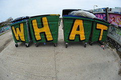 What (Lord Cogsby) Tags: black rock marina graffiti brighton what bins wheelie
