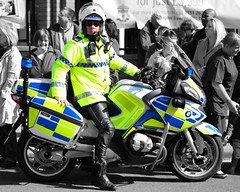 Colour Pop Cop (Whitto27) Tags: colour bike liverpool nikon traffic blues police pop led bmw motorcycle motor 112 999 merseyside selectivecolour rpu outrider 8975 merseysidepolice d5100 flickrnova whitto27