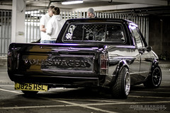 (Chris B 1000D) Tags: road chris shadow black reflection lines canon volkswagen photography lights shiny mine angle fife dundee south awesome parking low group wide perspective scottish scene tesco strip mean audi meet tayside monthly caddy vag dubs mk1 svag berridge
