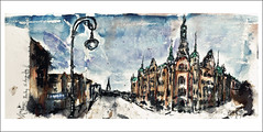 Hamburg - St. Annenufer (rafaelmucha) Tags: color moleskine water st architecture ink watercolor notebook sketch hamburg sketchbook bamboo architektur speicherstadt aquarell rotring cuty fineliner bambusfeder annenuffer