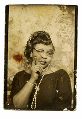 (edition_of_one) Tags: woman glasses pearls africanamerican backdrop foundphoto blackwoman vintagephoto photobackdrop