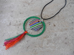 Polymer clay and threads (katerina66) Tags: necklace handmade oneofakind stripes jewellery polymerclay fimo threads