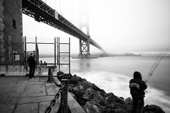 Cold Morning (melfoody) Tags: sanfrancisco longexposure bridge bw mist monochrome fog canon blackwhite fishing fisherman goldengatebridge goldengate fortpoint nd110 5dmkiii melfoody