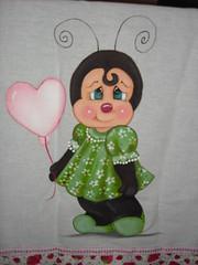 Joaninha dengosa (Pintura em tecido. Panos de prato.) Tags: panosdeprato panodecopa
