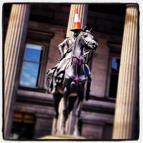I like their sense of humor in Glasgow! This statue of Wellington is topped with a traffic cone! http://en.m.wikipedia.org/wiki/Wellington_Statue,_Glasgow #glasgow #uk #scotland #igersglasgow