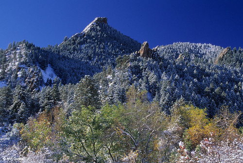 Photo - First Flatiron draped in an early fall snow, from Gregory Canyon.