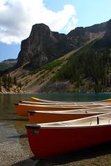 Moraine Lake Canoes (CDeahr23) Tags: canada mountains canoes alberta rockymountains recreation alpinelake mountainlake moraine albertacanada banffnationalpark morainelake canadianrockies towerofbabel glacialmoraine