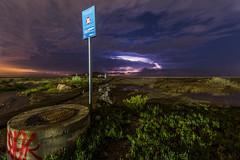 Almera - Tormenta (jorge.alonsodejuan) Tags: light sky storm sign night clouds lens landscape photography nikon nightscape angle post low wide almera d800