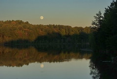 Moonrise At Sunset (vtpeacenik) Tags: reflection river vermont september fullmoon riverscape missisquoiriver