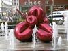 P1030700 (Mud Boy) Tags: nyc newyork fountain downtown manhattan financialdistrict batteryparkcity lowermanhattan 7worldtradecenter jeffkoonsballoonflowerred oversizedjeffkoonsballoonanimal