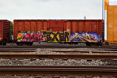(o texano) Tags: bench graffiti texas houston trains meme cbs freights texer benching
