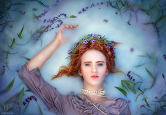 Ophelia's Garden (3) ({jessica drossin}) Tags: portrait woman art wet photography necklace fine floating pearls redhead redhair lavendar jessicadrossin wwwjessicadrossincom jdbeautifulworldcollection