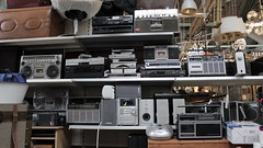 Ghettoblaster, Flea Market Hall, Berlin (David Mono) Tags: radio portable sony technics sharp mixtape stereo tape boombox pioneer hifi ghettoblaster tdk akai jvc gxm10 rvnb90