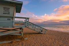 Redondo Beach Sunset (meeyak) Tags: redondo beach redondobeach lifeguardtower sunset la losangeles sand ocean colors socal california meeyak nikon d800 summer pacificocean travel vacation outdoors 1635mm wideangle night dusk warm weather westcoast