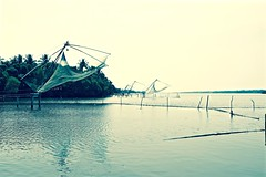 Fishing Nets Through a Filter (The Spirit of the World) Tags: chinesefishingnets kerala southernindia india nets filter fishing water sea arabiabsea seascape nature bay