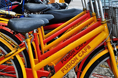 Hire a bike (Roving I) Tags: bicycles bikes cycling tourism cafes fusion hoian vietnam colours