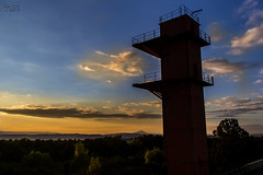 twilight from the roof (keriarpi) Tags: tower military base abandoned bars 501