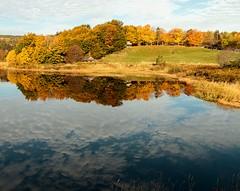 Calm Long Pond (Karen_Chappell) Tags: longpond reflection calm water pond stjohns canada atlanticcanada avalonpeninsula newfoundland nfld autumn fall trees orange green blue pippypark scenery scenic landscape