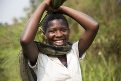 Slivia in front of wetland (Kristina Just) Tags: africa uganda wetland youth woman papyrus