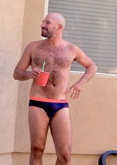 IMG_0211 (danimaniacs) Tags: party shirtless man guy hot sexy hunk mansolo bathingsuit trunks speedo bulge smile beard scruff bald hairy
