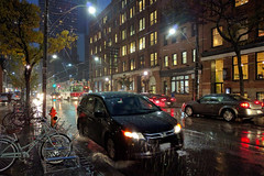 wet (Ian Muttoo) Tags: img20161102182407shiftnedit toronto ontario canada gimp shiftn wet raining reflection reflections night motionblur puddle puddles splash honda odyssey ttc streetcar torontotransitcommission 4011 bicycle rack pouring