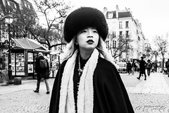 Street - Chapka girl (Franois Escriva) Tags: street streetphotography paris france candid olympus omd black people white bw noir blanc nb sky light sun chapka scarf girl woman beauty beautiful buidings halles asian winter photo rue look