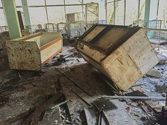 Smaller Supermarket - Pripyat (Chernobyl Exclusion Zone)_3 (Landie_Man) Tags: none chernobyl pripyat supermarket food groceries markert super shop store veg meat dairy shopping ukraine ussr cccp ccpp ccp disused radiation radioactive forgotten ionising power plant city town