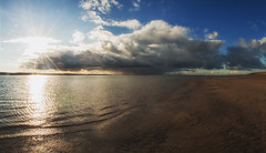 Storm On The Horizon (Boba Fett3) Tags: weather storm clouds rain sea water coast coastline cloudsstormssunsetssunrises sand beach westcountry wet sun sunlight sunrays sky outside outdoors ocean devon northdevon panoramic photostitch canon100d canon16mm35mmf28