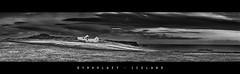Dyrholaey (John_de_Souza) Tags: johndesouza dyrholaey iceland 2015 farmhouse cottage seaside brooding blackandwhite panorama landscape cloud coast coastline desolate grand moody desolation wild rugged cliff