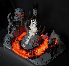 "Hell (Deus ""Big D."" Otiosus) Tags: lego moc hell inferno underworld hockey sticks skull cranium skeleton throne evil lava magma mrga squat titan suffering damnation pentagram satan metal diablo moco olympics"