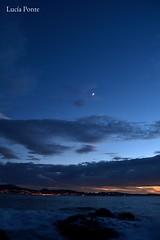 Moon (lpcobian) Tags: galicia areas pontevedra spain espaa sky sunset skyline nature evening puestasol luna moon beach playa ocean atlantic oceano atlantico turismo tourism daytrip