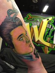Zombie elvis tattoo by Wes Fortier