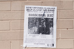 A church protested the performance of Unnatural Axe. I found this poster the day after they played so they weren't successful. (eatsdirt) Tags: chicago sign logansquare plea hozac unnaturalaxe hozacblackoutfestival
