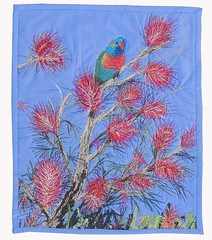 Rainbow Lorikeet (bekahdu) Tags: bird art nature quilt lorikeet textile fiber fibre