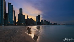 Ohio Street Beach (Brian Koprowski) Tags: park city sunset sky usa lake chicago beach skyline clouds skyscraper lights spring sand skyscrapers lakemichigan lakeshoredrive bluehour hancock hdr highdynamicrange cookcounty secondcity olivepark 2013 sigma10mm pentaxk5 briankoprowski bkoprowski